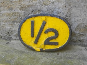 LSWR cast iron 1/2 mile plate - unrestored.