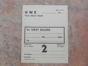 GWR wagon label - from Mells Road