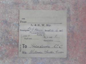 LNWR wagon label - from Longwood & Milnsbridge LNW